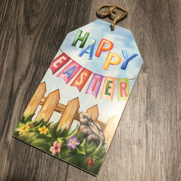 NWT happy Easter wooden hanging decor